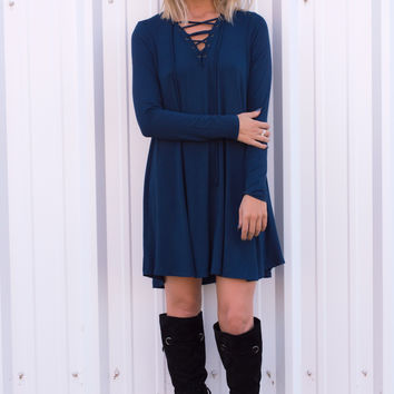 Netta Lace Up Dress - Blue