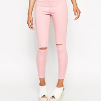 ASOS Rivington Ankle Grazer Jegging In Pink With Displaced Ripped Knees