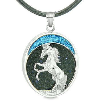 Courage Horse Wild Moon Mustang Magic Protection Powers Amulet Blue Goldstone Pendant Leather Necklace
