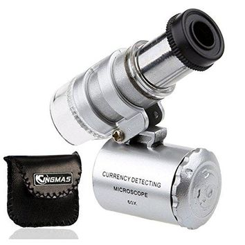 Mini 60x Microscope Magnifying with LED UV Light Pocket Jewelry Magnifier Jeweler Loupe