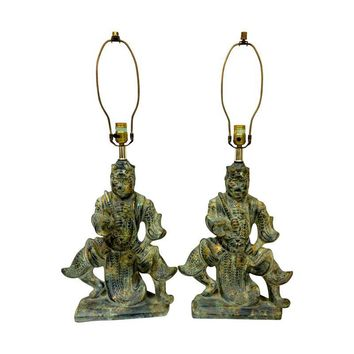 Pre-owned Green Ceramic Asian Table Lamps - A Pair