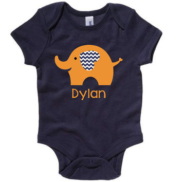 Personalized Boys or Girls Elephant Chevron Newborn Birthday Baby Infant T shirt Lots of Colors - Birthday Party Event Infant through Teen