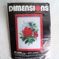 ON SALE Red Roses Dimensions kit/ Vintage crewel embroidery kit/ roses stitch kit/ 1989 kit design by Paul J. Sweany