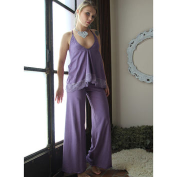 organic cotton camisole with lace trim and shelf bra - SORBET hand dyed sleepwear - made to order