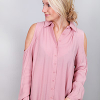 Strawberry Wine Cold Shoulder Top