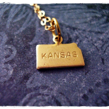 Tiny Gold Kansas State Necklace - Raw Brass Kansas Charm on a Delicate 18 Inch 14KT Gold Filled Cable Chain