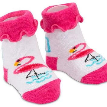 Pink Flamingo Baby Socks 0-12 Months