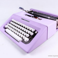 VALENTINE'S SALE- Lettera 25- Free shipping - lilac vintage typewriter - working typewriter - 1970s - working typewriter