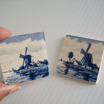 vintage Delft windmill wall decor . vintage ceramic miniature tiles . vintage Dutch wall decor . signed Delft . vintage windmills