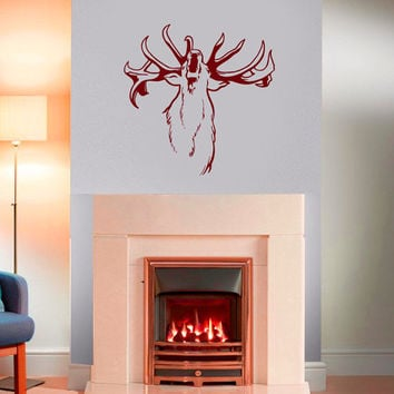 Wall Decals  Animals Decal Deer Antler Horns Fauna Safari Hunting Art Mural Bedroom Living Room Kitchen Vinyl Sticker Home Decor ML114