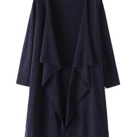 Navy Waterfall Front Long Sleeve Knit Cardigan
