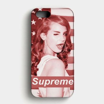 Lana Del Rey Supreme American Flag iPhone SE Case