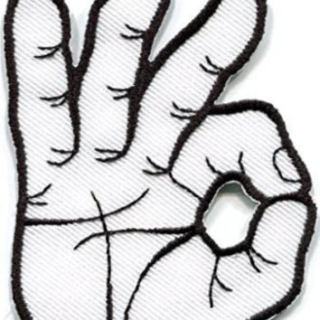 Ok Okay Hand Sign Signal Logo Retro Applique Iron-on Patch New S-795 Free Shipping