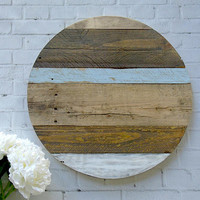 Rustic Farmhouse Style Reclaimed Wood Round Monogram Sign - 22 Inches