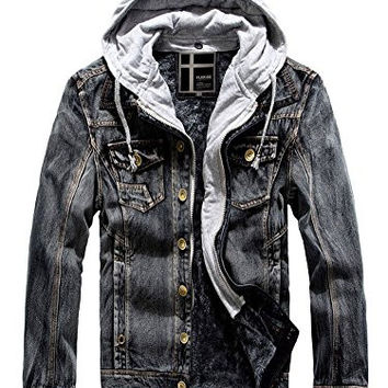 Flerise Men's Causal Denim Cotton False Two-pieces Hoodies Jacket Warm Coat Outwear