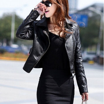 Fashion Women's Lapel PU Leather Short Jackets Coat Slim Oblique Zipper Motorcycle Leather Jacket for Women