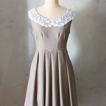 AUTUMN MOCHA - Vintage inspired tan brown dress with lace portrait collar // pleated skirt // house dress // bridesmaid // shabby chic