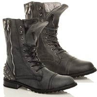 Womens military ladies combat army low heel lace up zip biker ankle boots size