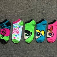 New Cotton Women Girl Lady Cartoon The Powerpuff Girls Blossom Bubbles Buttercup Socks Sock Free Size
