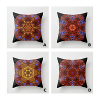 Autumn leaves and sky mandala throw pillow cover, all occasion gift, bronze, gold, blue, brown, ash birch, home decor, living room, bedroom