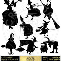 8 Halloween Witch Silhouettes Clip Art.  SVG, eps, dxf, png Cut Files - Digital Downloads for Silhouette, Cricuit, SCAL die cutting - CV-559