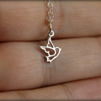Dove Outline Necklace in Sterling Silver
