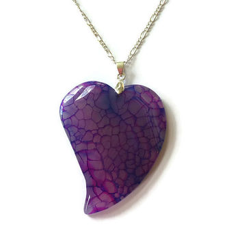 Purple Dragon Vein Agate Heart Necklace Asymmetrical Gemstone Heart Necklace Stone Heart Gemstone Pendant Girlfriend Necklace Reiki Pendant