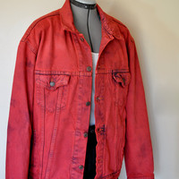 "Vintage Levi's Denim JACKET - Scarlet Red Hand Dyed Upcycled Levi's Denim Jacket - Mens Extra Large  (50"" chest)"
