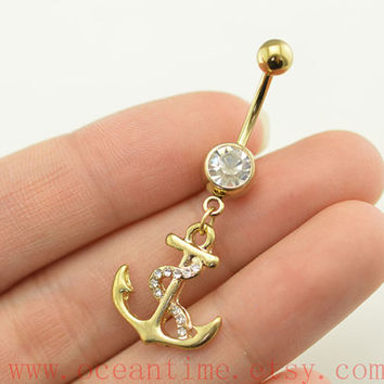 Anchor Belly Button Rings,Navel Jewlery, anchor belly button ring,gold anchor, belly ring,friendship gift