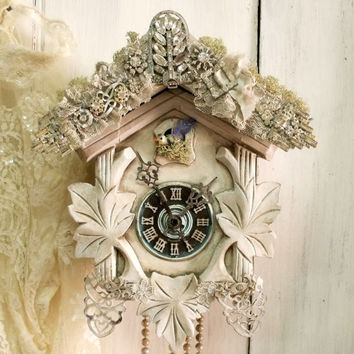Vintage Cuckoo clock rhinestones bird wall decor Shabby chic coocoo reinvented altered White clock