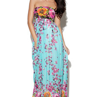 Blue Floral Print Strapless Maxi Dress