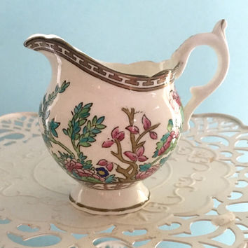 Vintage 1920's Coalport Creamer, Indian Tree, Bridal Shower Tea, Antique Milk Pitcher, Hand Painted China, Coalport Bone China, Small Vase