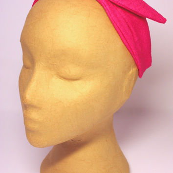Headband. Pink fabric headband. Knotted headband. Winter headband. Fabric headpiece. Bright pink headpiece. Knotted headpiece.