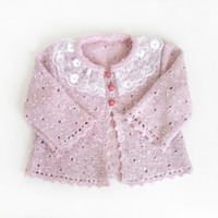 Knitted Baby Jacket - Pastel Pink, 9 - 12 month