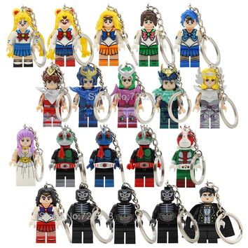 Single Sale Cartoon Sailor Moon Figure Saint Seiya Kamen Masked Rider Keychain Key Ring Building Blocks Models Bricks Toys