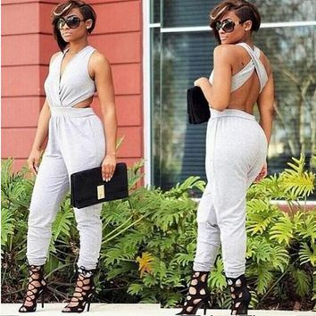 Grey Cross Back Cut Out Elastic Waist Fashion Long Jumpsuit