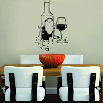 Bottle and Glass Kitchen Bar Man Cave Design Decal Sticker Wall Vinyl Decor Art