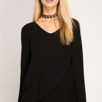 Black Long Sleeve Tulip Top with Cut-Out Back Detail