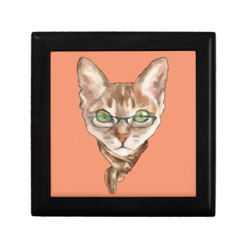 Fancy Sphynx Cat Lovers Decor Glasses Scarf Kitten Keepsake Box