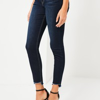 Missguided - Blue Anarchy Stepped Hem Skinny Jeans