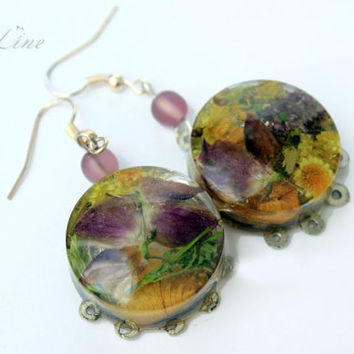 Resin Jewelry Violet and Yellow Real Flowers Earrings Rustic With Acacia Flowers. Tablet Shaped Hook Dangle Earrings Natural Flower Jewelry