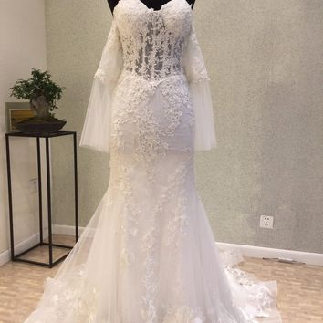 Fashionable Wedding Dress Mermaid Style 2018 Vintage Lace Long Sleeve Bridal Gown Sexy Off-the-Shoulder vestidos de noiva