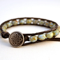 Bohemian chic blue picasso bead bracelet. Rustic leather cuff