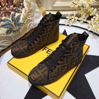 Fendi Logo Monogram Women Fashion high top Casual Sneaker sport Shoes Best quality brown