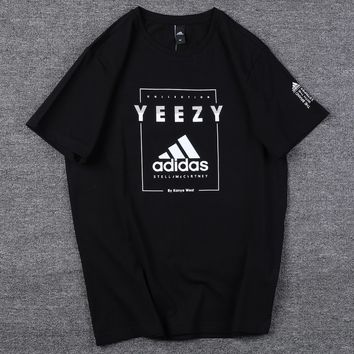 ADIDAS 2019 new tide brand loose men and women round neck shirt T-shirt Black