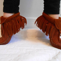 Inca Style Moccasins, Handmade Fringe Moccasins, Leather Elk Hide Moccs, Native American, Hand Sewn, Natural Earthing Shoe, Mountain Man