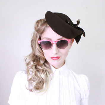 1940s Hat / VINTAGE / 40s Hat / Military Style / Tilt Hat / Cocoa Brown / WW2/ Abstract / PRETTY