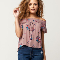 LILY WHITE Floral Womens Off The Shoulder Top