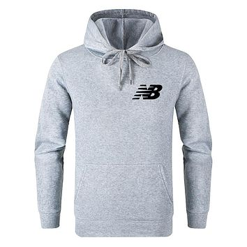 New Balance Autumn And Winter New Fashion Bust Side Letter Print Women Men Leisure Hooded Long Sleeve Sweater Top Gray