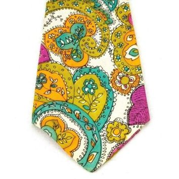 Silk Paisley Tie Multi Color Vintage Hand Made Wear to the Derby 58.5 inches